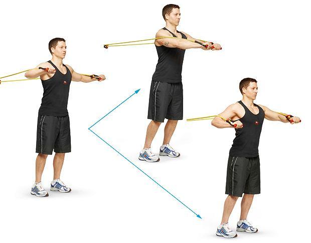 Ćwiczenia: domowy sposób na klatę, ćwiczenia, Ściąganie gum przed klatkę piersiową