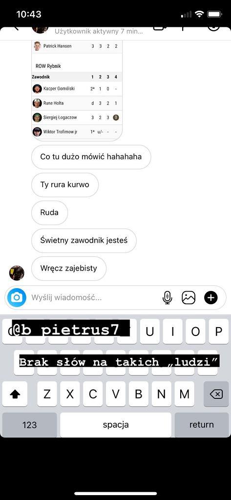 Zdjęcia wiadomości prywatnych skierowanych do Kacpra Gomólskiego, żużlowca ROW Rybnik. Źródło: Instagram