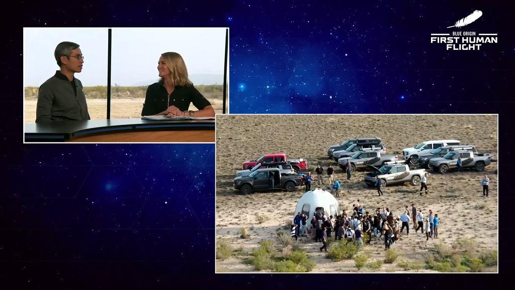 Lot Jeffa Bezosa w kosmos - 10 potężnych samochodów przyjechało zabrać cztery osoby z pustyni