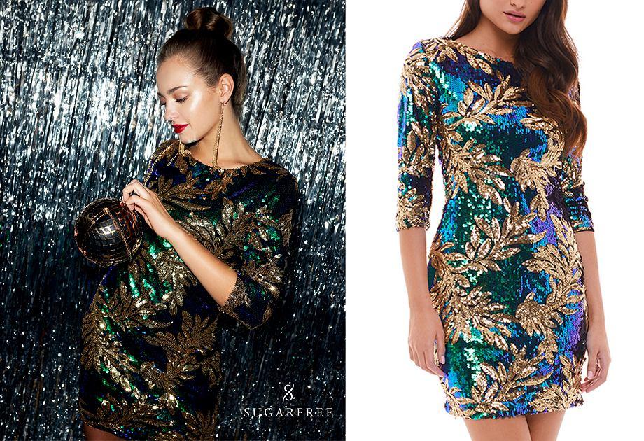 Cekinową sukienką Sugarfree pokrywa wzór w liście
