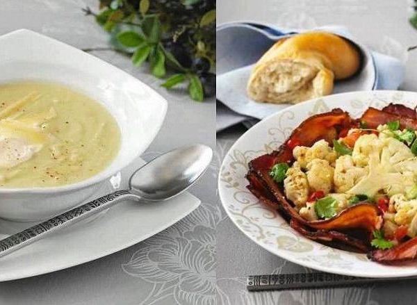 Biały krem z kalafiora z parmezanem, Sałatka z kalafiora, owczego sera, bekonu i chilli