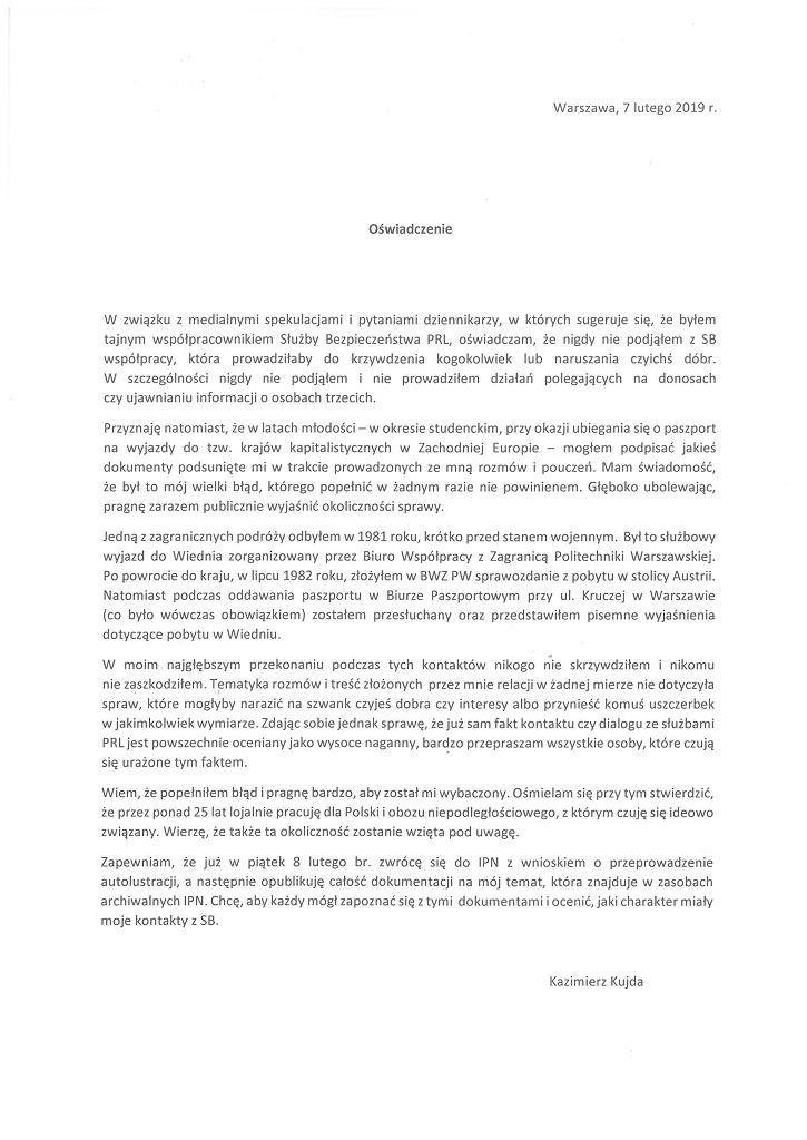 Oświadczenie Kazimierza Kujdy