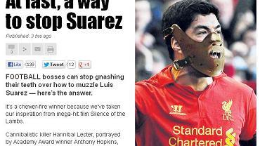 Luis Suarez jako Hannibal Lecter w 'The Sun'