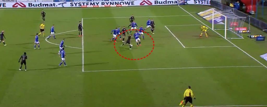 Gol Piotra Krawczyka w meczu Wisła Płock - Górnik Zabrze (0:1)