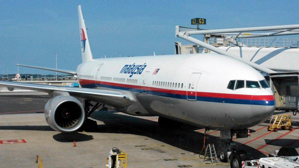 Boeing 777, lot MH-17 Malaysia Airlines przed startem z lotniska Schiphol w Amsterdamie