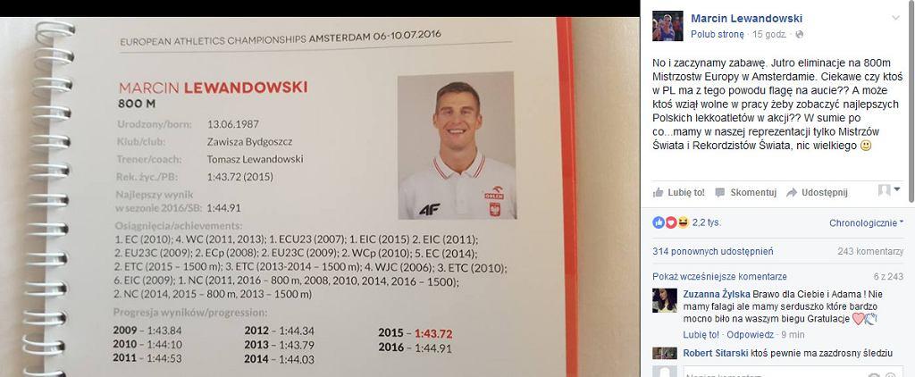 screen z profilu Marcina Lewandowskiego