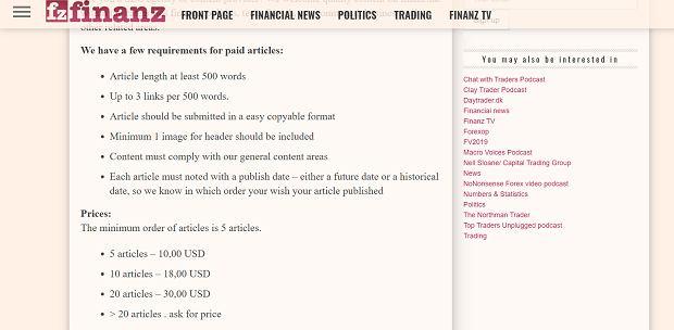 Materiały sponsorowane w mediach to standard, jednak cennik i reguły przyjmowania takich treści to jedyny konkret na temat witryny na finanz.dk. Samo w sobie jest to wymowne