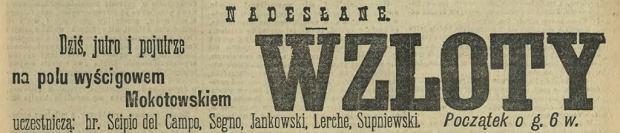 Ogłoszenie o pokazie lotniczym 13 sierpnia 1911 roku.