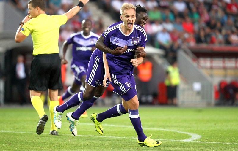Łukasz Teodorczyk w meczu Slavia Praga - Anderlecht (0:3)