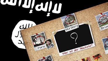 """""""Gdzie teraz?"""" - jeden z przykładów propagowania terroryzmu przez pseudopaństwo islamskie. Grafikę opublikowano w kilkunastu językach, jej celem było zasianie paniki i """"pochwalenie"""" się zamachami"""