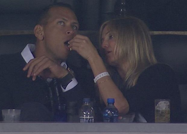 Cameron Diaz is caught by TV cameras as she feeds popcorn to on-off boyfriend Alex Rodriguez while the couple watched the Super Bowl. The actress was seen shovelling the snack into the baseball stars mouth. New York Yankees ace Rodriguez, nicknamed A-Rod, seemed a little embarrassed when he noticed their actions were being broadcast to tens of millions of viewers across the United States, as the Green Bay Packers took on the Pittsburgh Steelers at the Cowboys Stadium in Arlington, Texas.  Pictured: Cameron Diaz and Alex Rodriguez     Splash News and Picture Agency does not claim any Copyright or License in the attached material. Any downloading fees charged by Splash are for Splashs services only, and do not, nor are they intended to, convey to the user any Copyright or License in the material. By publishing this material , the user expressly agrees to indemnify and to hold Splash harmless from any claims, demands, or causes of action arising out of or connected in any way with users publication of the material.