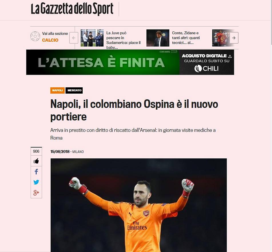 David Ospina zostanie zawodnikiem Napoli