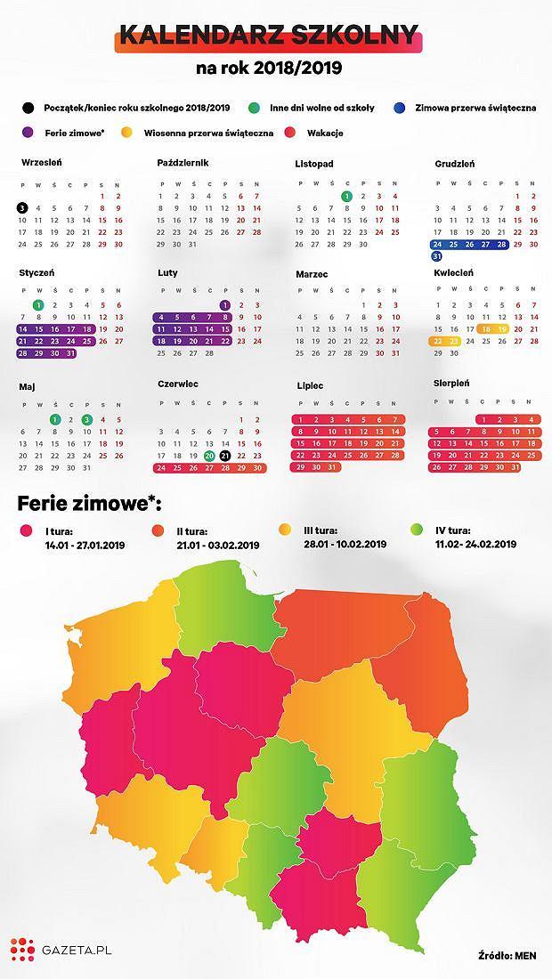 Rok szkolny 2018/2019. Kalendarz dni wolnych i świąt
