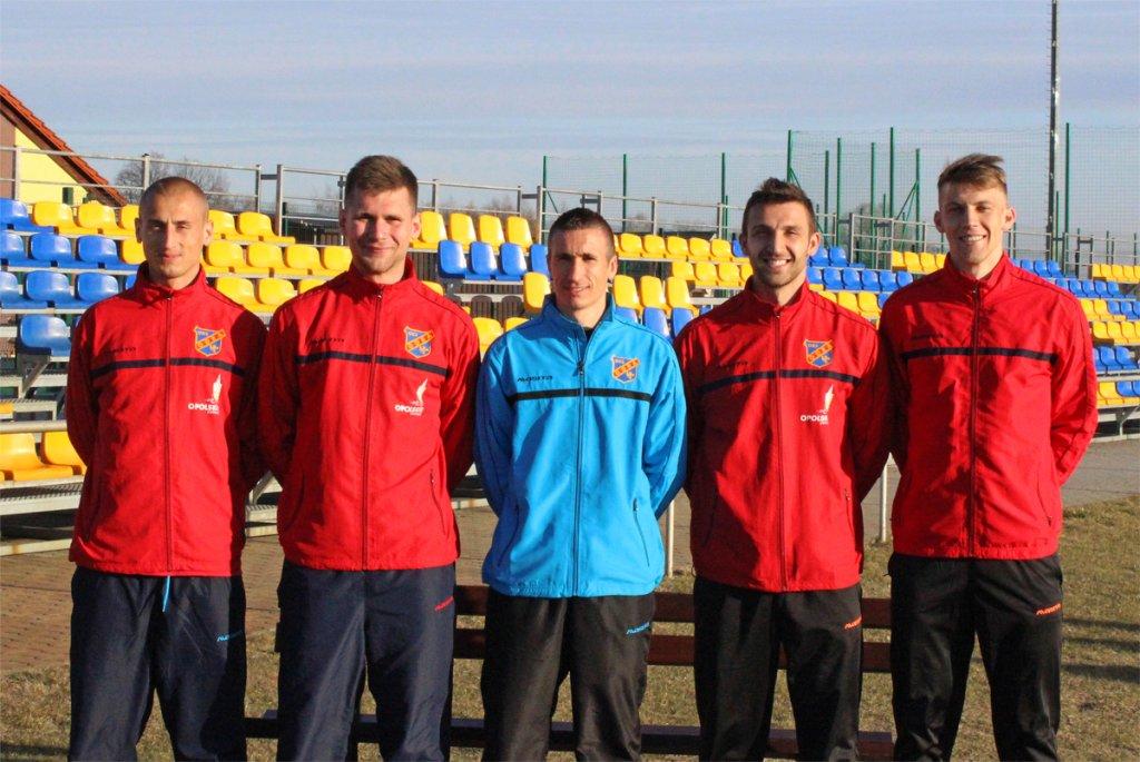 Nowi w Odrze Opole. Od lewej: Waldemar Gancarczyk, Łukasz Żegleń, Krzysztof Kapelan (drugi trener), Damian Ałdaś i Mateusz Abramowicz