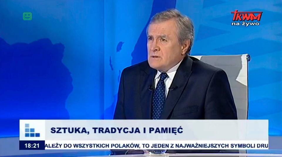 Minister kultury Piotr Gliński w programie 'Rozmowy niedokończone' w telewizji Trwam