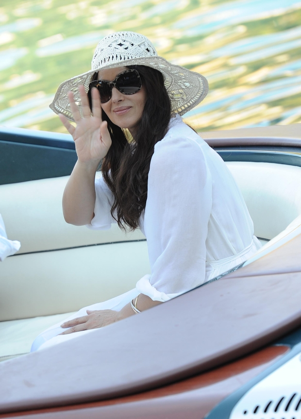 PORTOFINO, ITALY - SEPTEMBER 14:  Actress Monica Bellucci on the set of 'Perlage' TV coomercial on September 14, 2012 in Portofino, Italy.  (Photo by Jacopo Raule/Getty Images)