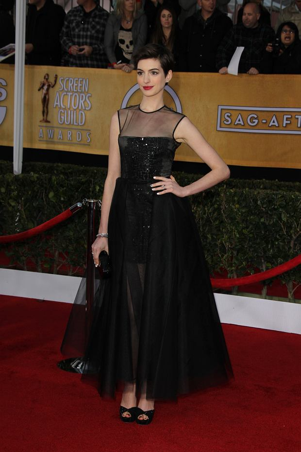 SMG_Anne Hathaway_NY1_LA_SAG_Awards_012713_23.JPG LOS ANGELES, CA - JANUARY 27: Anne Hathaway at the 19th Annual Screen Actors Guild Awards held at The Shrine Auditorium on January 27, 2013 in Los Angeles, California. (Photo By Storms Media Group) People: Anne Hathaway Transmission Ref: NY1_LA Must call if interested Michael Storms Storms Media Group Inc. 305-632-3400 - Cell MikeStorm@aol.com