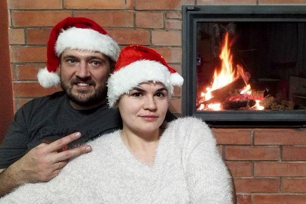 Swiatłana Cichanouska ze swoim mężem Siarhiejem