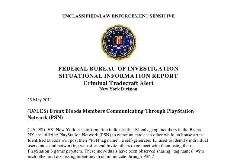 Nagłówek dokumentu FBI o wykorzystywaniu PlayStation Network przez członków gangu Bloods.