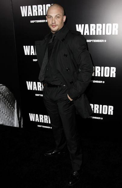"Cast member Tom Hardy arrives at the premiere of ""Warrior"" in Los Angeles, Tuesday, Sept. 6, 2011.  ""Warrior"" opens in theaters Sept. 9, 2011.  (AP Photo/Matt Sayles)"