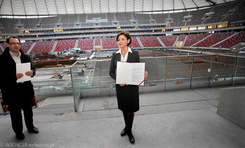 Minister sportu Joanna Mucha podczas przekazania Stadionu Narodowego do użytku
