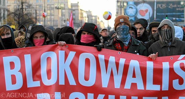 Warszawa, pikieta przeciwko Marszowi Niepodległości