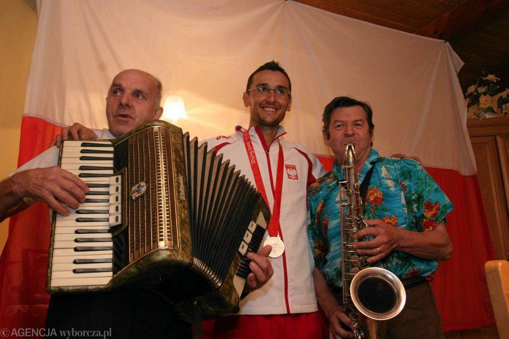 Przywitanie Łukasz Pawłowskiego po Igrzyskach Olimpijskich w 2008 roku