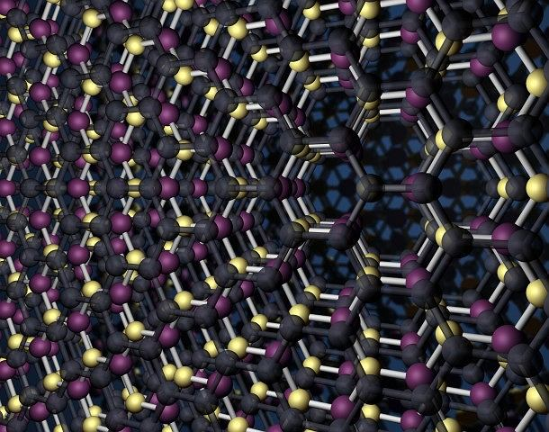 struktura składająca się z warstw grafenu i azotanu boru