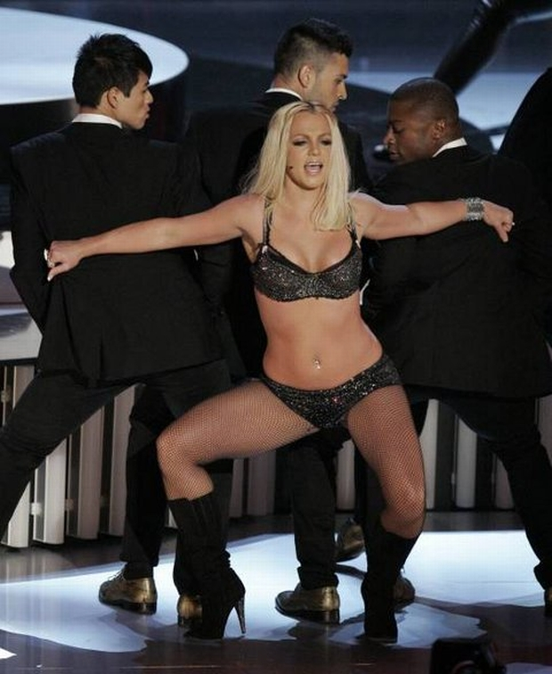 Britney Spears performs at the MTV Video Music Awards held at the Palms Hotel and Casino on Sunday, Sept. 9, 2007, in Las Vegas. (AP Photo/Mark J. Terrill)