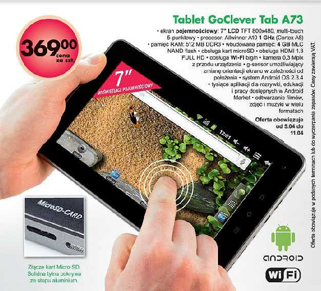 Tablet GoClever Tab A73 w Biedronce