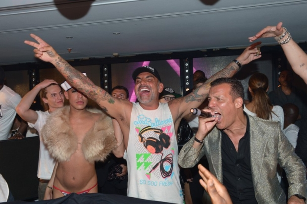 French designer Christian Audigier alongside host Jean Roch partying at the VIP Room during 65th Cannes Film Festival in Cannes, southern France on May 17, 2012. Photo by Rachid Bellak/ABACAPRESS.COM  # 320578_002