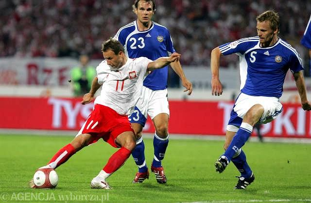 Tomasz Frankowski w barwach reprezentacji Polski. Rok 2006 - mecz z Finlandią w Bydgoszczy