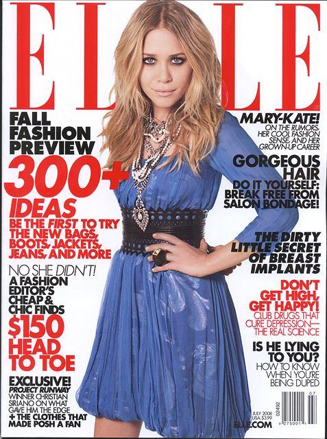 Mary-Kate Olsen na okładce amerykńskiego ELLE fot. skan
