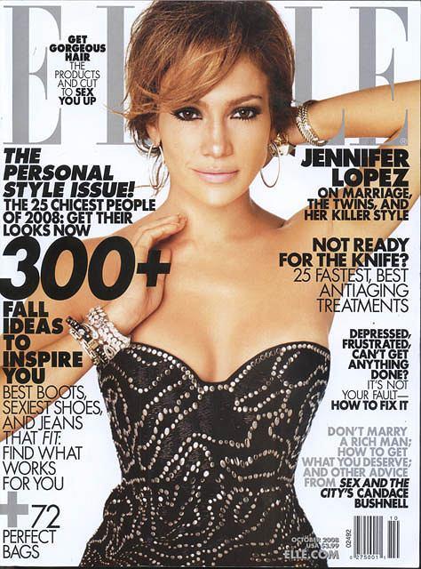 Jennifer Lopez na okładce ELLE fot. skan własny