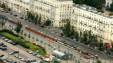 Tramwaje stojące w korku na ul. Marszałkowskiej