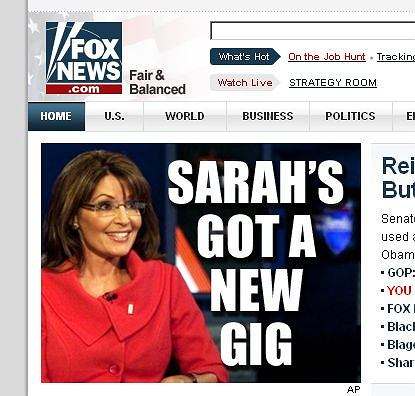 FOX News informuje o nowej pracy Sarah Palin
