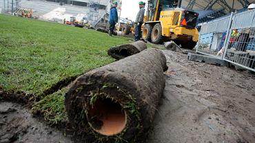 Zmiana murawy na stadionie Lecha. Grudzień 2009.