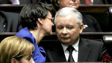 Joanna Kluzik-Rostkowska i Jarosław Kaczyński w maju 2010 roku - przed wyborami prezydenckimi