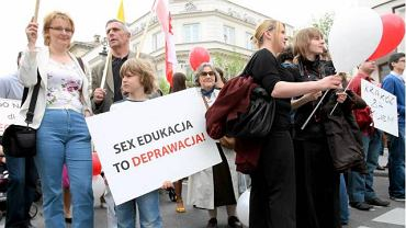 Protest przeciwko edukacji seksualnej