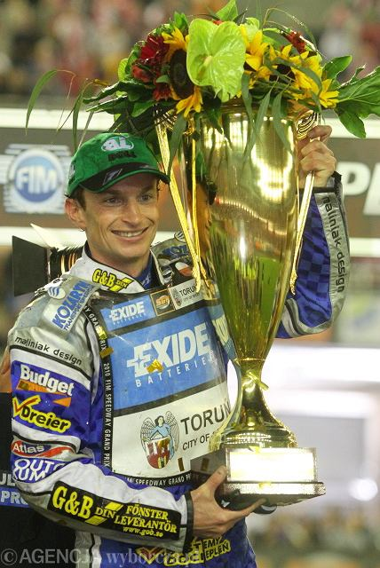 Rune Holta na podium Grand Prix Polski na żużlu w Toruniu