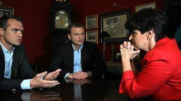 Sławomir Nowak i Joanna Kluzik-Rostkowska rozmawiają o debatach wyborczych w czerwcu 2010 roku