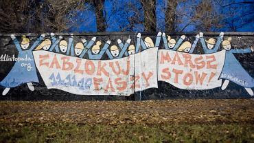 Kilka dni temu taki mural na murze na Wyścigach namalowali sympatycy koalicji antyfaszystowskiej, która chce zatrzymać 11 listopada marsz ONR i Młodzieży Wszechpolskiej