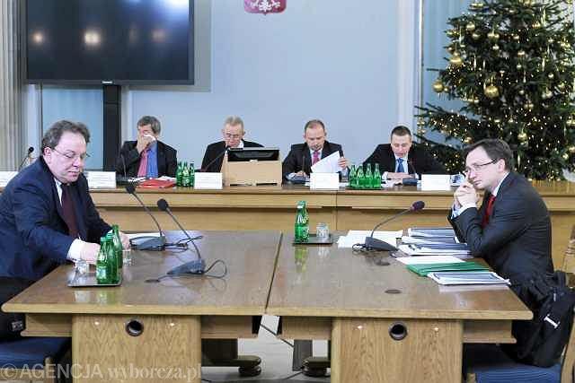 Jaromir Netzel i Zbigniew Ziobro podczas konfrontacji przed sejmową komisją ds. nacisków