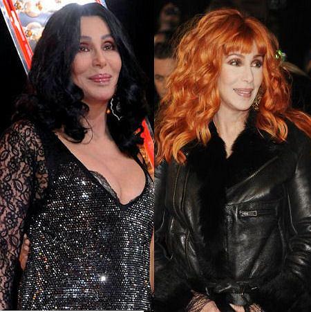 Cher w rudych włosach