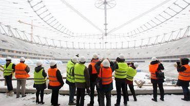 Stadion Narodowy w Warszawie w budowie. Styczeń 2010