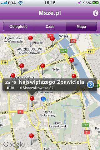 Aplikacja Msze.pl.