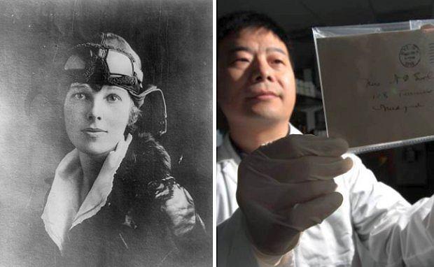 Amelia Earhart - legenda lotnictwa. Z prawej strony dr. Dongya Yang.