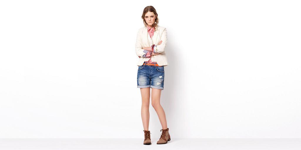 Zara TRF, lookbook, wiosna 2011, blezer 199 zł, koszula 99,90 zł, szorty 149 zł, buty 299 zł