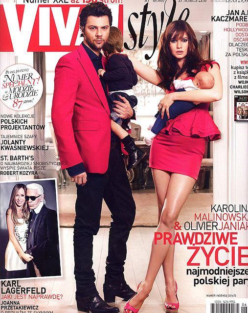 Karolina Malinowska i Olivier Janiak z dziećmi na okładce Viva Style