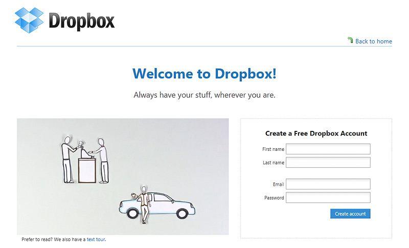 Strona główna serwisu Dropbox